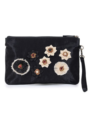 Black Mashru Silk and Chanderi Wristlet with Detachable Handle