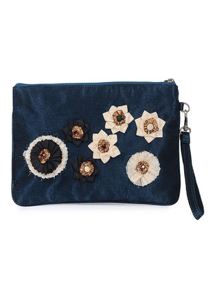 Indigo Mashru Silk and Chanderi Wristlet with Detachable Handle