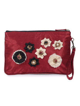Red Mashru Silk and Chanderi Wristlet with Detachable Handle