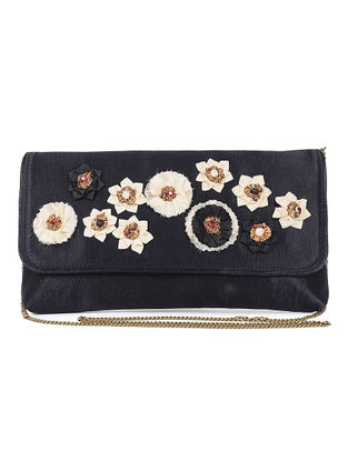 Black Mashru Silk and Chanderi Clutch with Floral Motif and Detachable Metal Sling