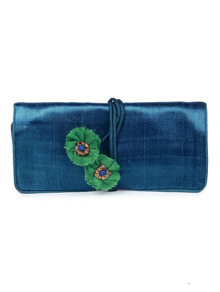 Blue-Green Mashru Silk Clutch with Handmade Floral Tie-up String