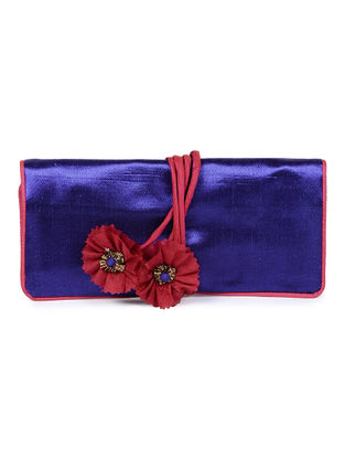 Blue-Red Mashru Silk Clutch with Handmade Floral Tie-up String