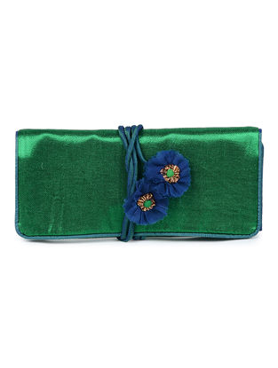 Green-Blue Mashru Silk Clutch with Handmade Floral Tie-up String