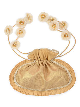 Golden-Ivory Brocade Silk Potli with Handmade Floral Drawstring