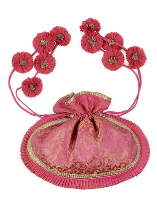 Pink-Golden Brocade Silk Potli with Handmade Floral Drawstring