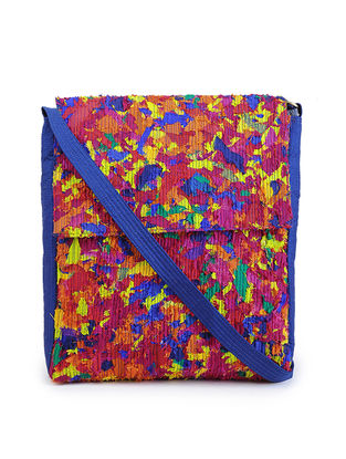 Multicolored Upcycled Quilted Silk Sling Bag