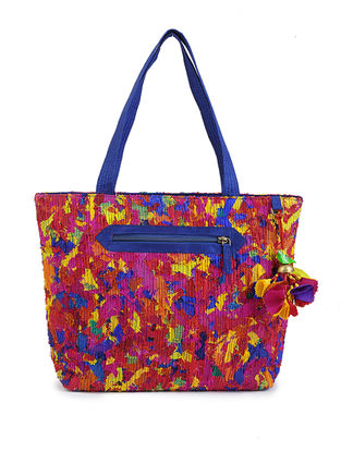 Multicolored Upcycled Quilted Silk Tote