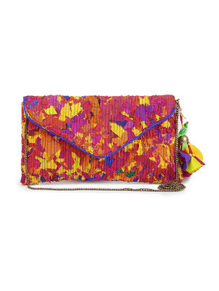 Multicolored Upcycled Quilted Silk Clutch with Detachable Metal Sling