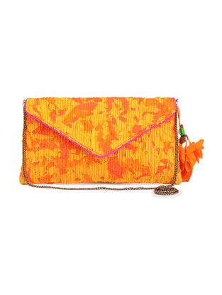 Yellow Upcycled Quilted Silk Clutch with Detachable Metal Sling