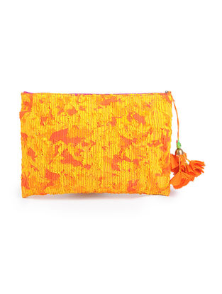 Yellow Upcycled Quilted Silk Pouch with Tassels