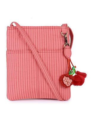 Peach Silk Sling Bag with Tassels