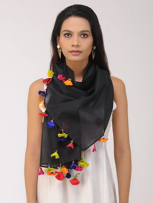 Black Chanderi Silk Stole with Tassels and Hand-painted Beads
