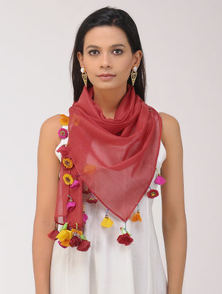 Red Chanderi Silk Stole with Tassels and Hand-painted Beads
