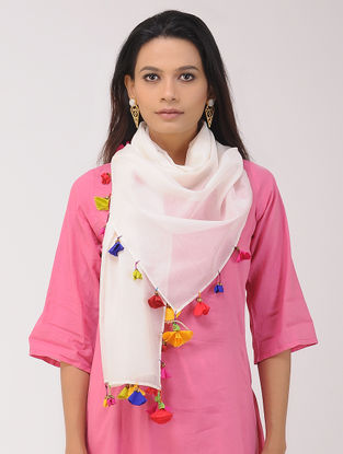 Off-white Chanderi Silk Stole with Tassels and Hand-painted Beads
