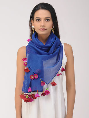 Blue Chanderi Silk Stole with Tassels and Hand-painted Beads
