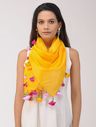 Yellow Chanderi Silk Stole with Tassels and Hand-painted Beads
