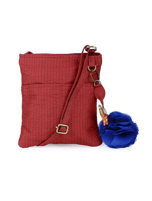 Red Silk Sling Bag with Tassel and Hand-painted Bead - 8.2in x 7.5in