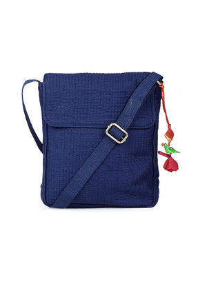 Blue Silk Sling Bag with Tassel and Hand-painted Bead - 11.6in x 9in