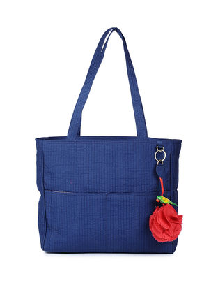 Blue Quilted Silk Tote with Tassel and Hand-painted Bead