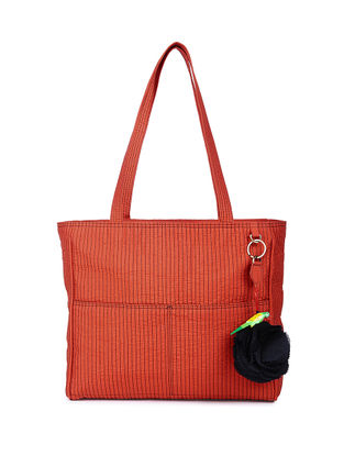 Red Quilted Silk Tote with Tassel and Hand-painted Bead