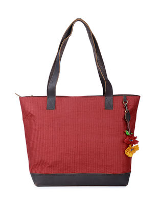 Maroon Chanderi Silk Tote with Tassel and Hand-painted Bead