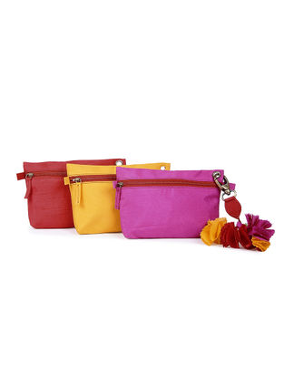 Red-Pink-Yellow Brocade Silk Pouch Set ( Set of 3)