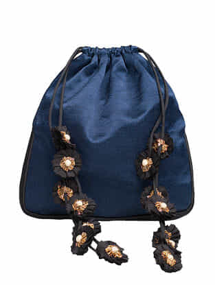 Indigo Mashru and Croma Silk Potli with Handmade Floral Drawstring