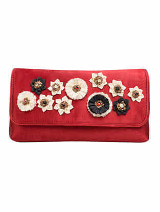 Maroon Mashru Silk and Chanderi Clutch with Floral Motif and Detachable Metal Sling