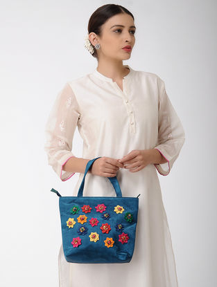 Indigo Mashru Silk and Chanderi Handbag with Applique