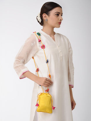 Yellow Mashru Silk and Chanderi Potli with Handmade Floral Drawstring