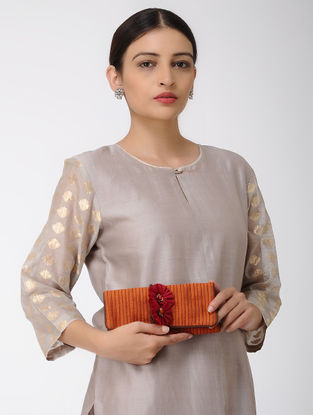 Rust Mashru Silk Clutch with Tie-up String