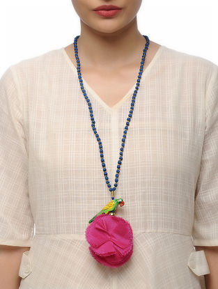 Blue Handmade Croma Silk Mala with Wooden Beads and Tassels