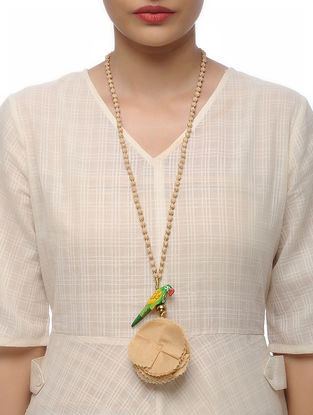 Beige Handmade Croma Silk Mala with Wooden Beads and Tassels