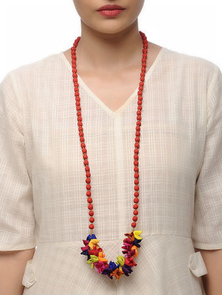 Red Handmade Croma Silk Mala with Wooden Beads and Tassels