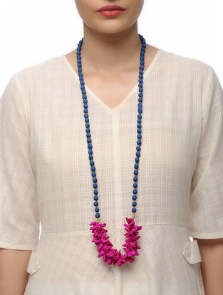 Blue Handmade Croma Silk Mala with Wooden Beads