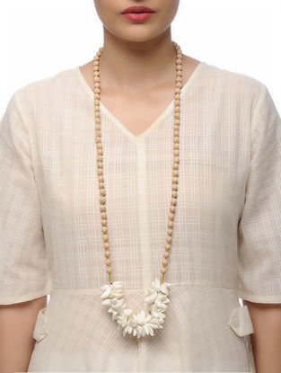 Beige Handmade Croma Silk Mala with Wooden Beads