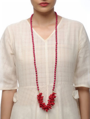 Fuchsia Handmade Croma Silk Mala with Wooden Beads