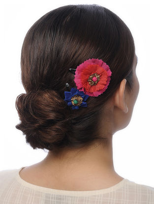Multicolored Handmade Chanderi Hair Clips with Floral Design