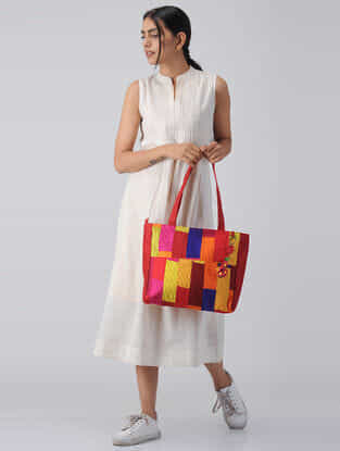Red-Multicolored Quilted Silk Tote with Tassels and Hand-Painted Wooden Beads