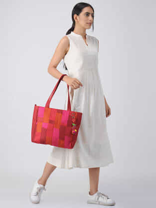 Maroon-Multicolored Quilted Silk Tote with Tassels and Hand-Painted Wooden Beads
