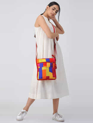 Red-Multicolored Quilted Silk Crossbody Bag with Tassels and Hand-Painted Wooden Beads