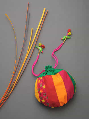 Green-Multicolored Chroma Silk Patchwork Potli with Tassel and Hand-Painted Wooden Beads