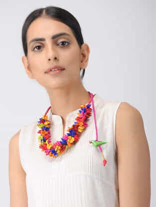 Multicolored Croma Silk Necklace with Floral Design and Hand-Painted Wooden Beads