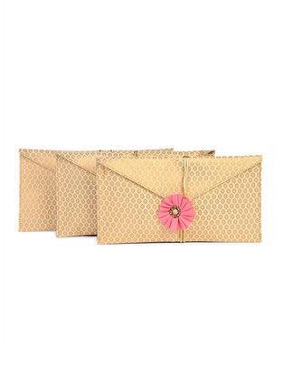 Golden Brocade Silk Gift Envelopes (Set of 3)