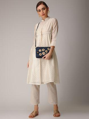 Indigo Mashru-Chanderi Silk Sling Bag with Floral Motif Applique