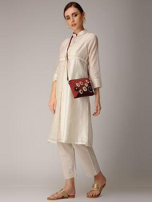 Maroon Mashru-Chanderi Silk Sling Bag with Floral Motif Applique