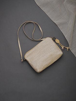 Golden-Silver Brocade-Croma Silk Sling Bag with Tassels