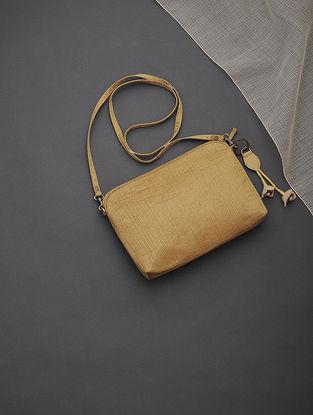 Golden Brocade-Croma Silk Sling Bag with Tassels