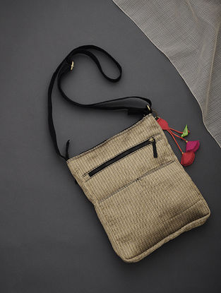 Golden-Black Brocade-Croma Silk Sling Bag with Tassels and Hand-Painted Wooden Beads
