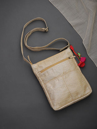 Golden-Silver Brocade-Croma Silk Sling Bag with Tassels and Hand-Painted Wooden Beads